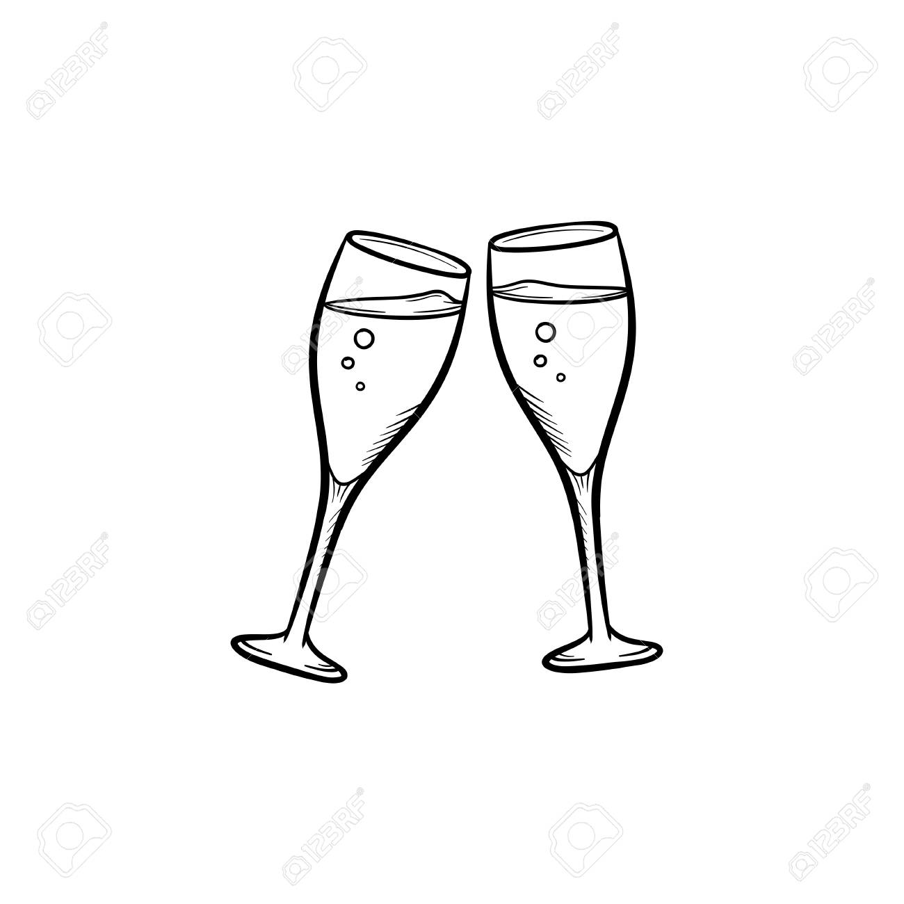 Champagne glasses hand drawn outline doodle icon. Two clinking wineglasses vector sketch illustration for print, web, mobile and infographics isolated on white background.